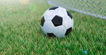 Bola na grama representa os modelos de brinquedos de futebol